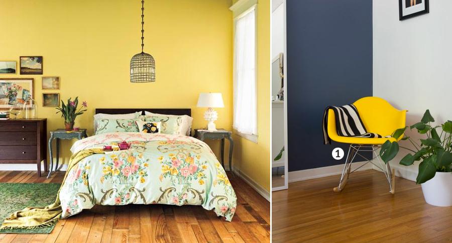 Quatro Amarelo com Cadeira DAR Balanço. Uma peça amarelo pode fazer toda diferença.