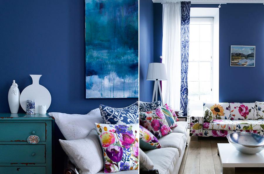 Combinando Cores na Decoração: Decoração Azul. Na parede a conhecida Azul Hortência