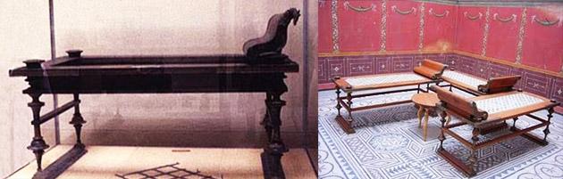 A esquerda, Lectus, um dos móveis móveis mais utilizados pelos romanos. A direita, a Triclinia consistia em uma estrutura em U, formada por três Lectus
