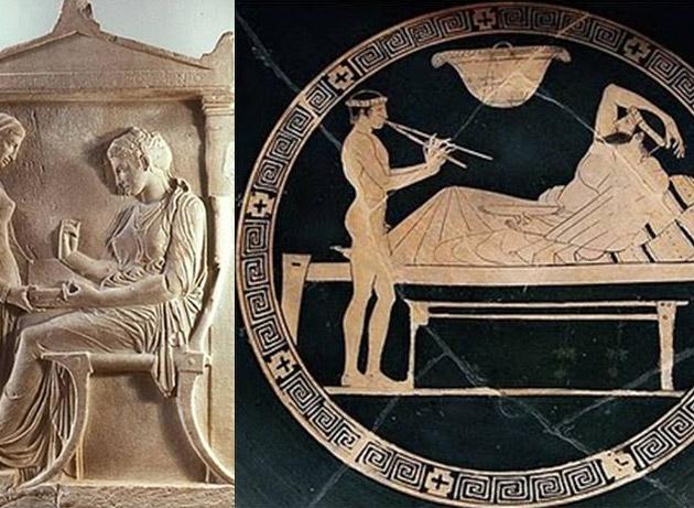 A esquerda Cadeira Klismos no túmulo de Hegeso, c. 400 a. C., repare nas formas. A direta, representação do banqueta com a Kline