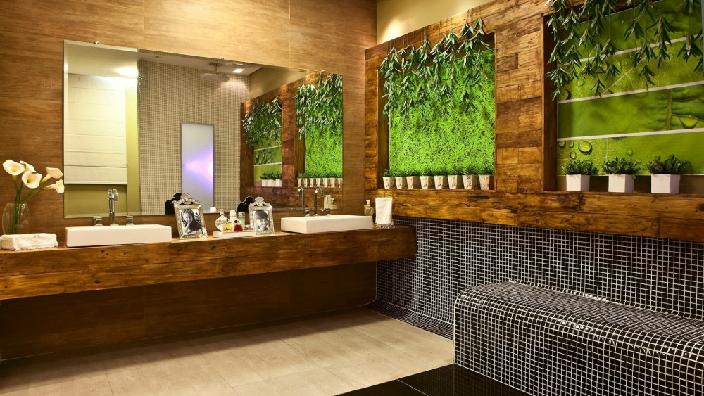 madeira em um lindo banheiro - Decoração em Madeira