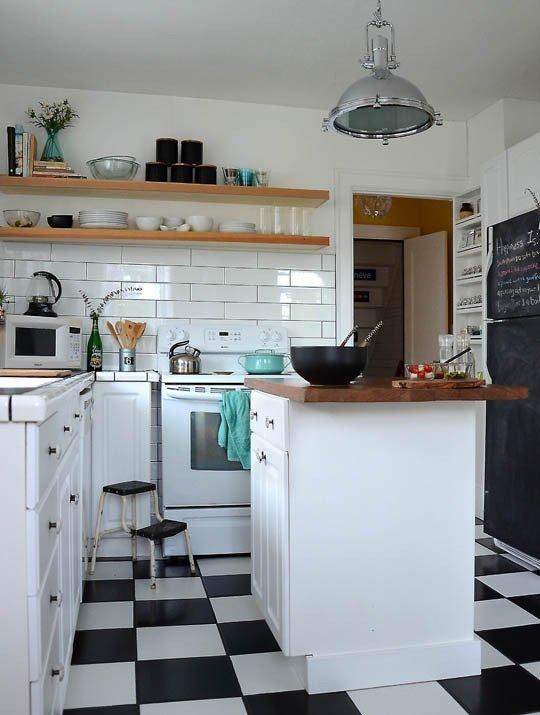 piso-xadrez-na-cozinha