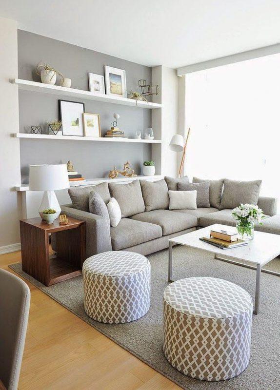 sala clean cinza