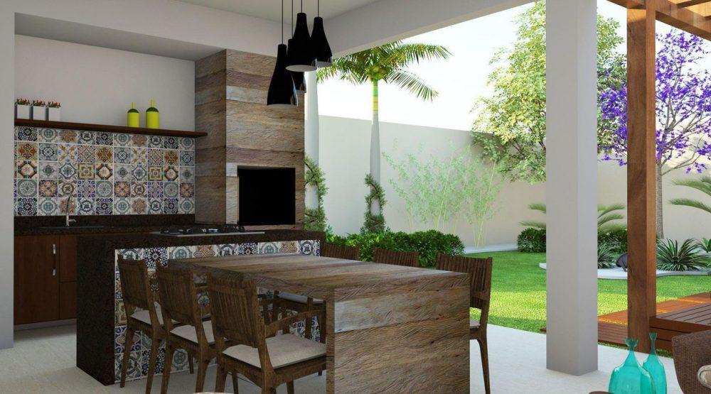 Área Gourmet com azulejos decorados