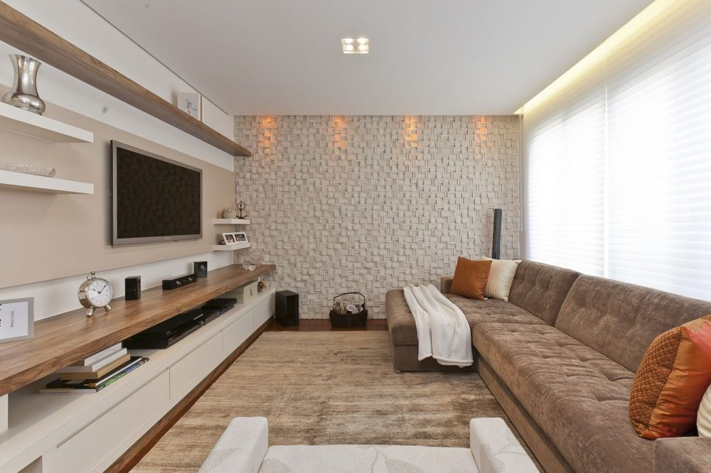 Sala de Estar com cores claras e Revestimento 3D