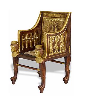 Cadeira luxuosa do antigo Egito