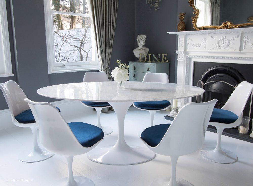 cadeiras saarinen revestimento azul