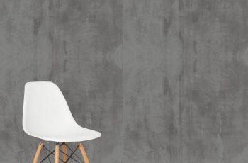 cimento queimado parede cadeira eames