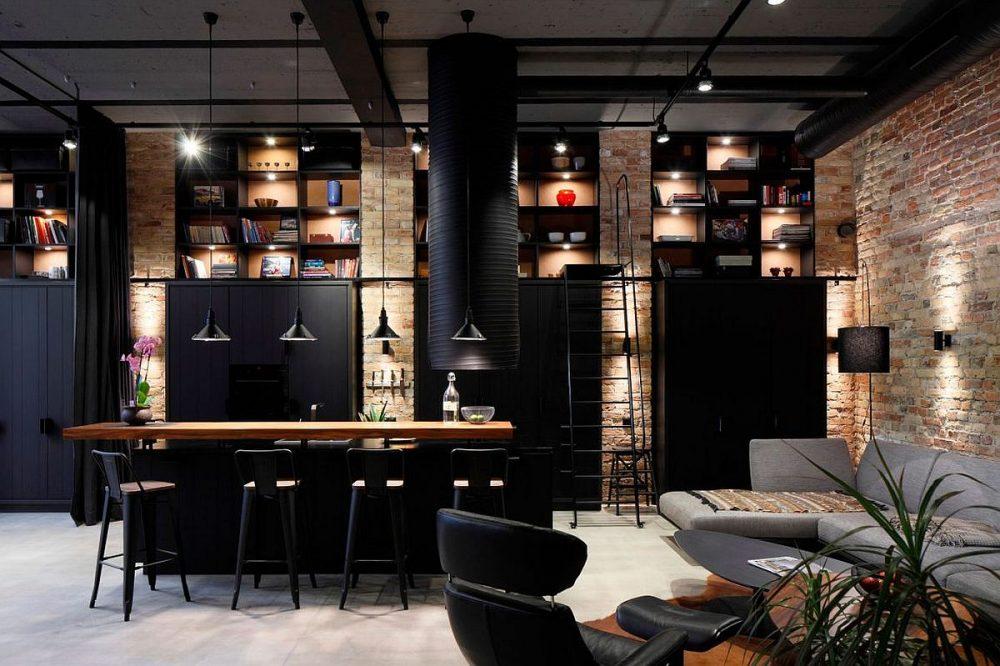 Decoração design industrial com tijolos aparentes e uso da cor preta