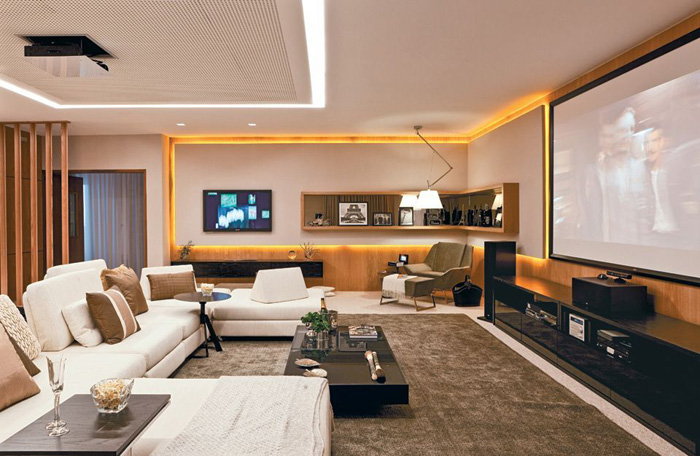 sala de estar tecnologias e madeira